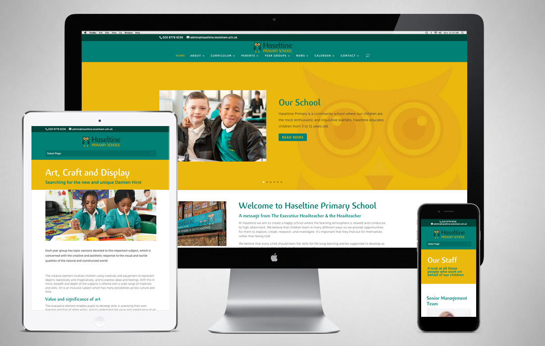 Fully responsive, professional and fun website for Haseltine School by Pylon Design