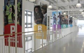 Five striking atrium banners for Conisborough College by Pylon Design