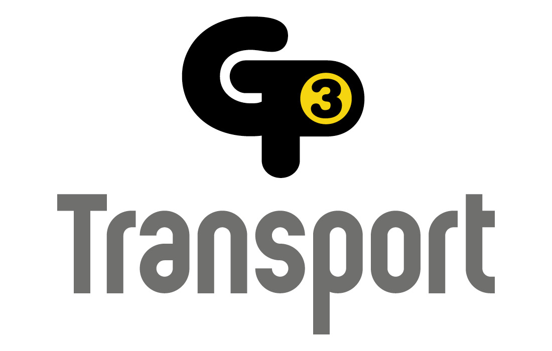 Bold typographical logo for GP3 Transport by Pylon Design