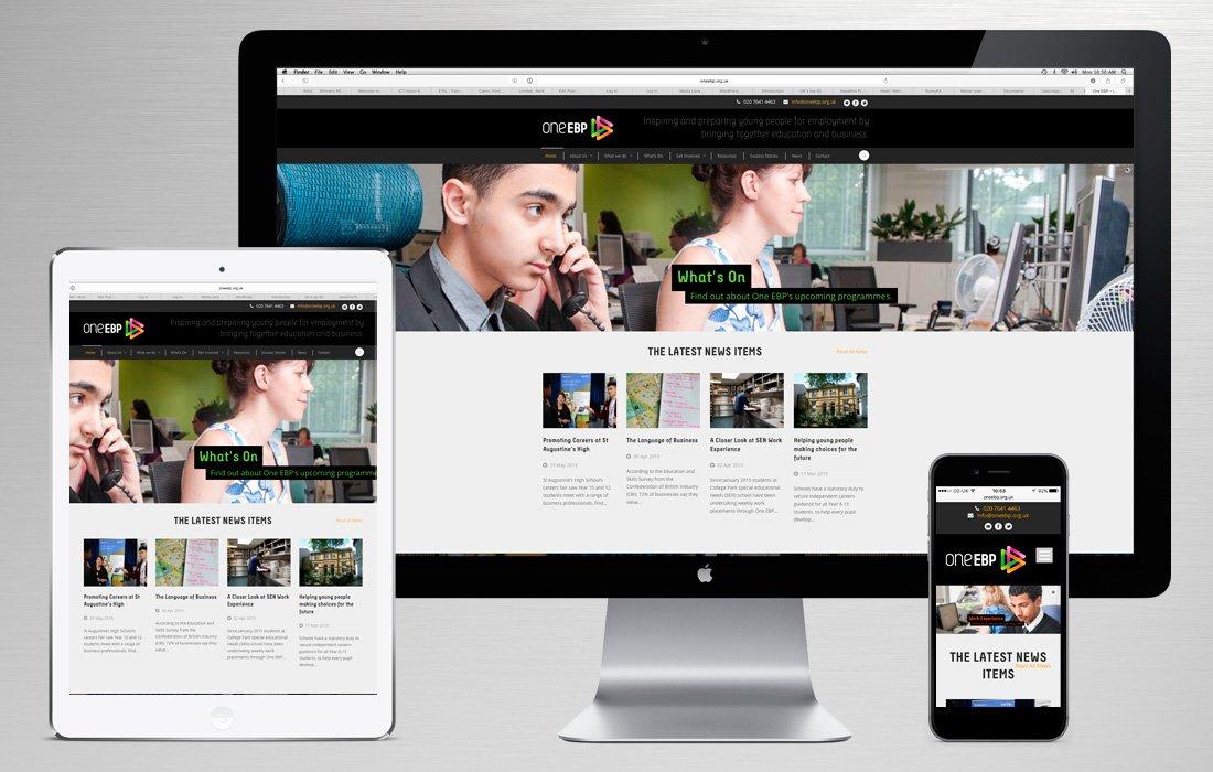 Fully responsive branded website for oneEBP designed and built by Pylon Design