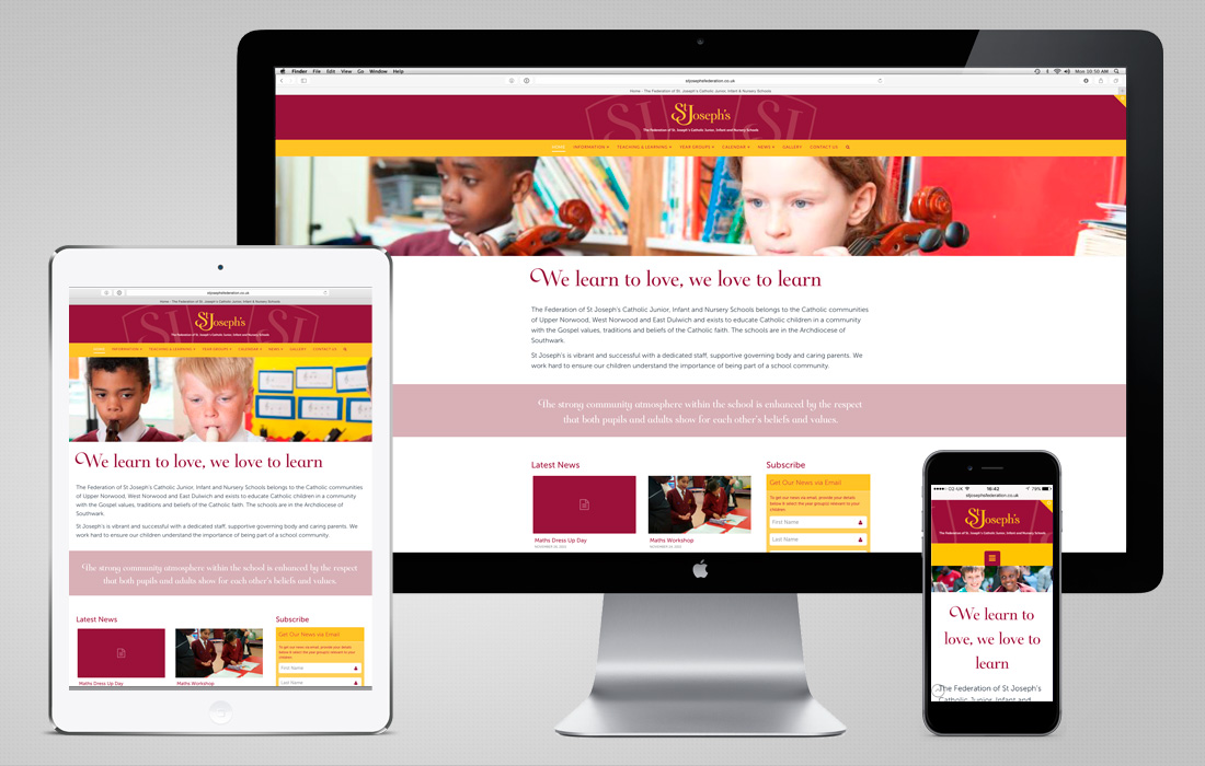 A fully responsive, content managed website for St Joseph's designed and built by Pylon Design