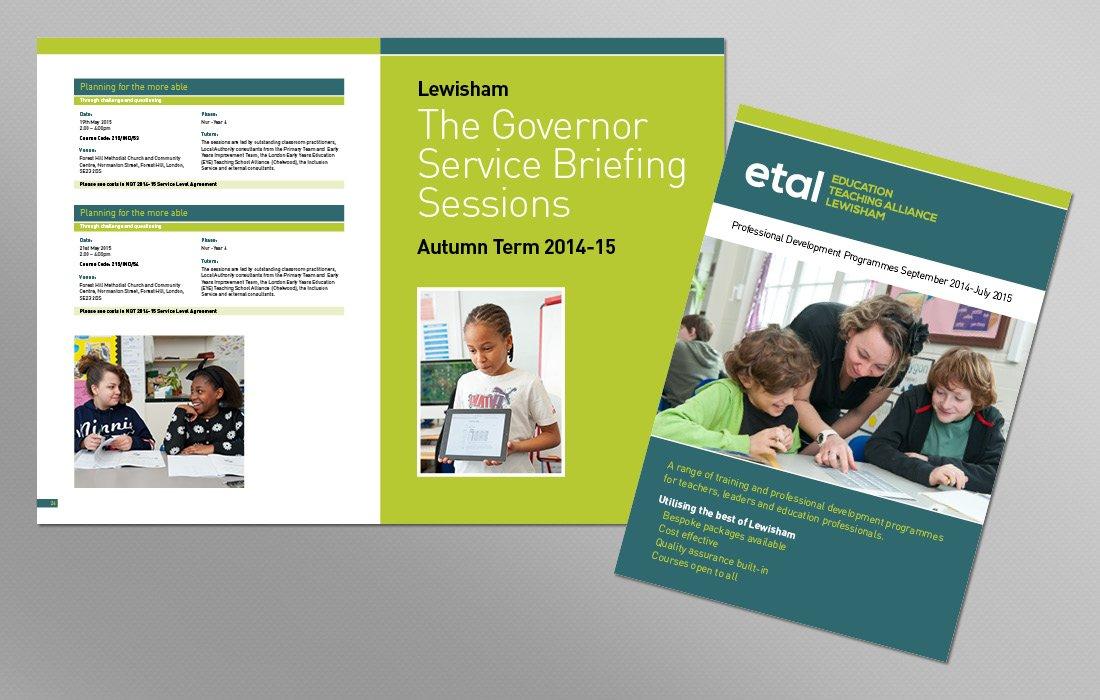 Bold corporate ETAL colours used in brochure by Pylon Design
