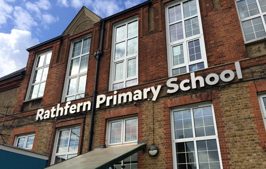 3D Stainless steel lettering signage for Rathfern Primary School