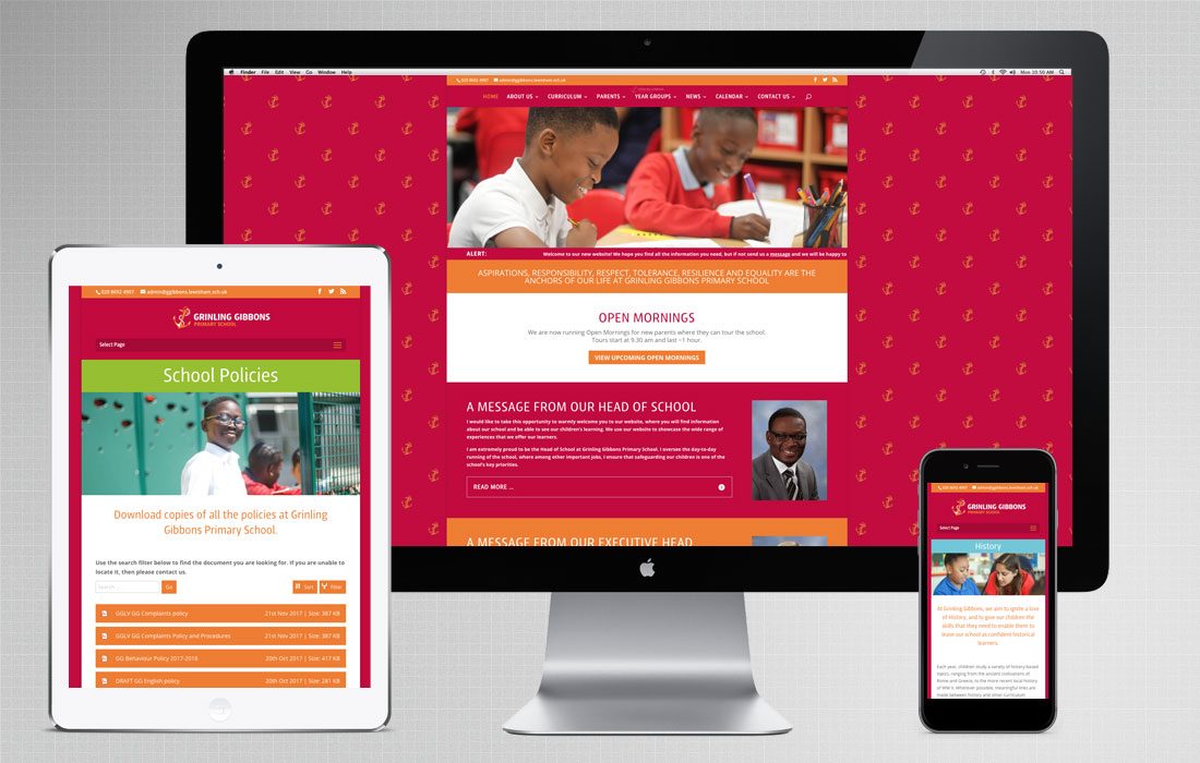 London school web design for Grinling Gibbons