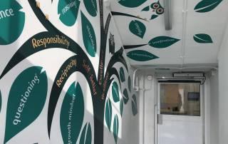 The Learning Tree corridor vinyl at Haseltine Primary School in Sydenham, London