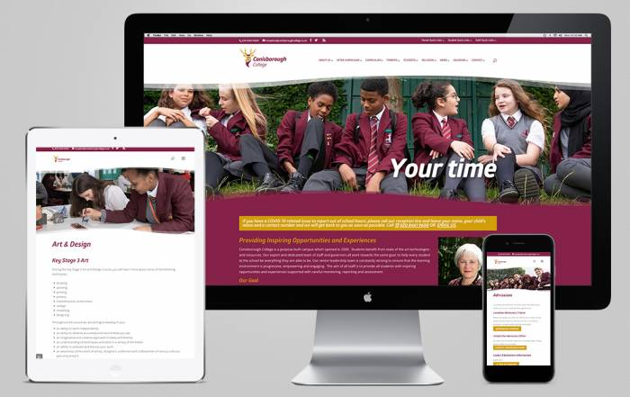 Conisborough College Website viewed on different device screen sizes
